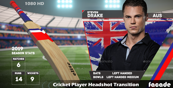 Videohive Cricket Player Headshot Transition 11224788