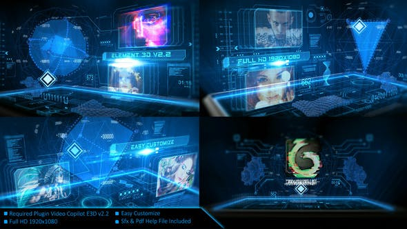 Videohive Digital Holographic Intro 23954651
