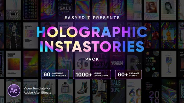 Videohive Holographic InstaStories Pack 23505519