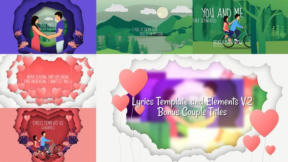Videohive Lyrics Template and Elements V.2 - Paper Cut Concepts 24487049