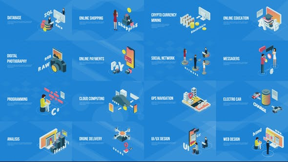 Videohive Technology And Innovation Isometric Scenes 22879751