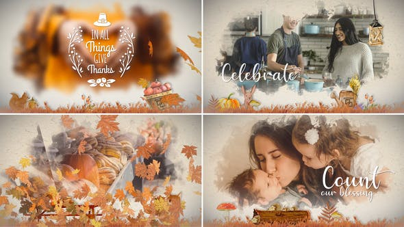 Videohive Thanksgiving Watercolored Slideshow 24971366