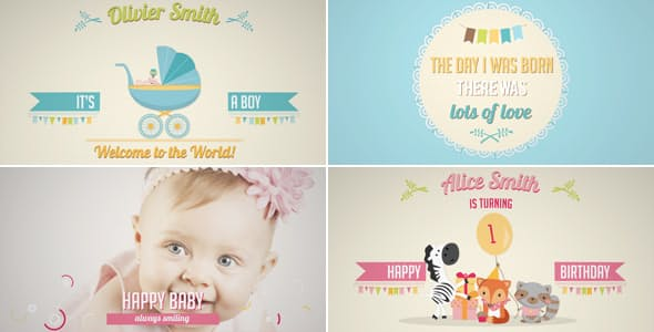 Videohive Birth Announcement - Baby Birthday Album 19307377