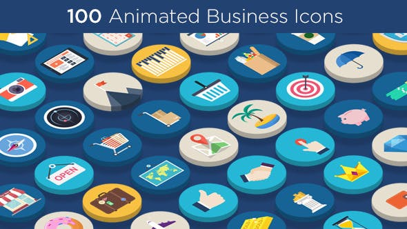 Videohive 100 Animated Business Icons 10707226