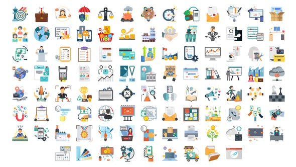 Videohive 100 Business Startup Icons 28281466