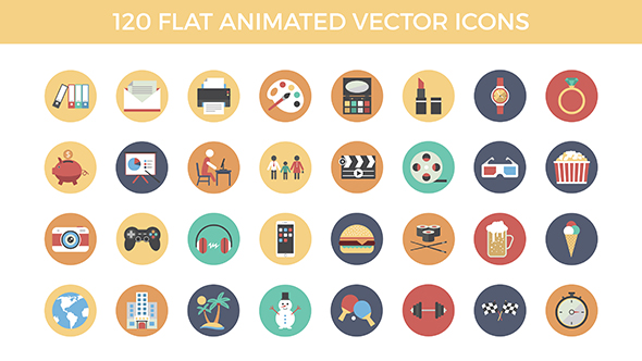 Videohive 120 Flat Animated Vector Icons 16503052