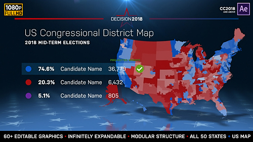 Videohive 2018 Midterm Election Map State Congressional Districts 22714175