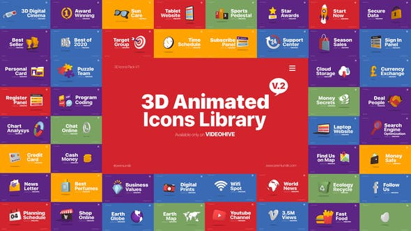 Videohive 3D Animated Icons Library 25620968