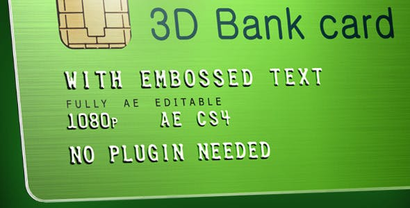 Videohive 3D Bank Card with Embossed Text 4441695