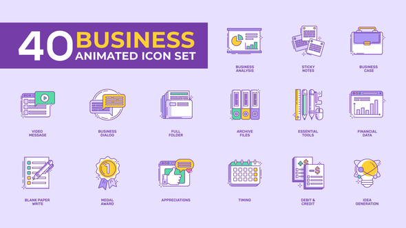 Videohive 40 Animated Business Icon Set 22531764