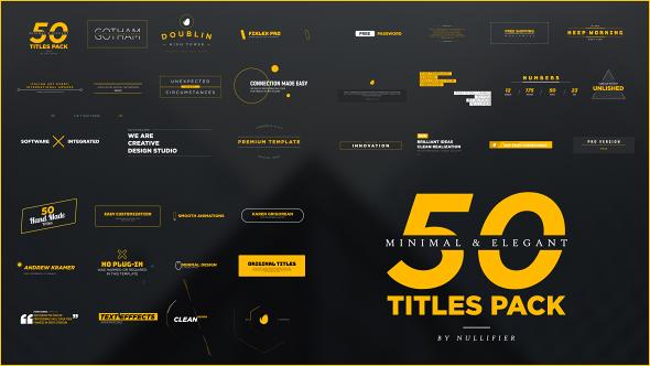 Videohive 50 Minimal Elegant Titles Pack 17342420