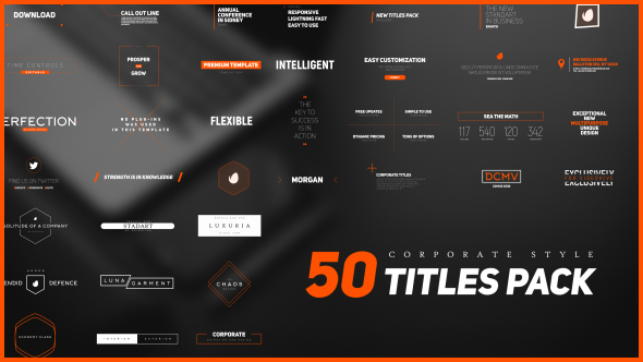 Videohive 50 Stylish Corporate Titles Pack 18015567