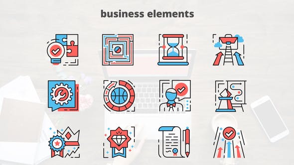 Videohive Business Elements - Thin Line Icons 23455639