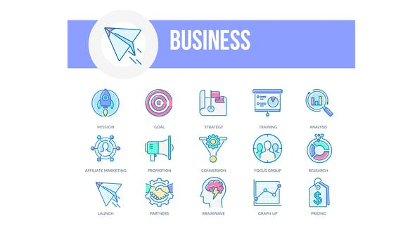 Videohive Business - Filled Outline Animated Icons 26929919