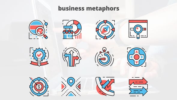 Videohive Business Metaphors – Thin Line Icons 23455661