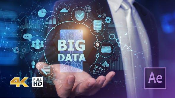 Videohive Businessman Open Hand Big Data 24982264