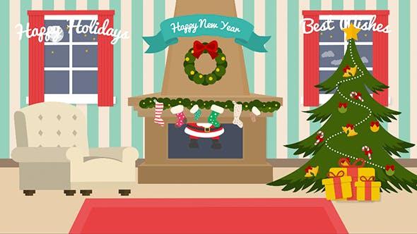 Videohive Cartoon Christmas Postcard 13845198