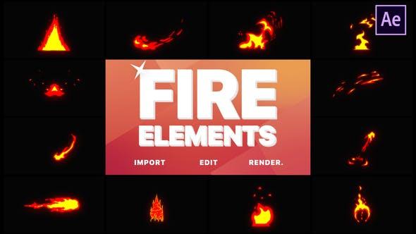 Videohive Cartoon Fire Elements 21798952
