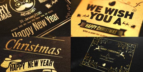 Videohive Christmas Golden Card 19047070