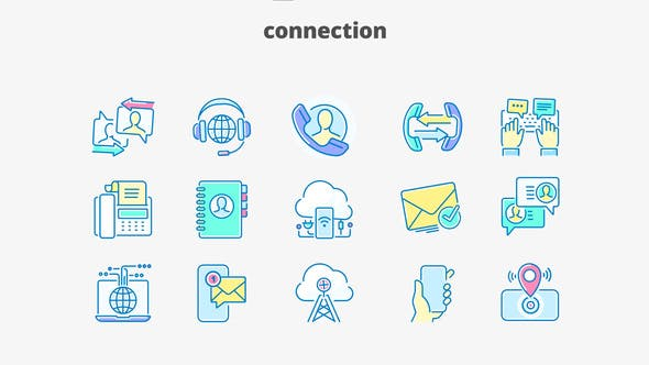Videohive Connection- Filled Outline Animated Icons 28333377