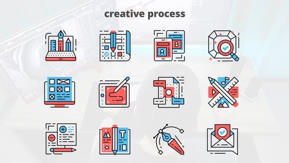 Videohive Creative Process – Thin Line Icons 23455860