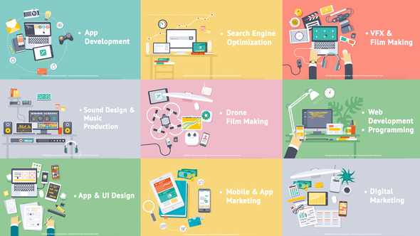 Videohive Creative Process - Flat Design Concepts 18312170