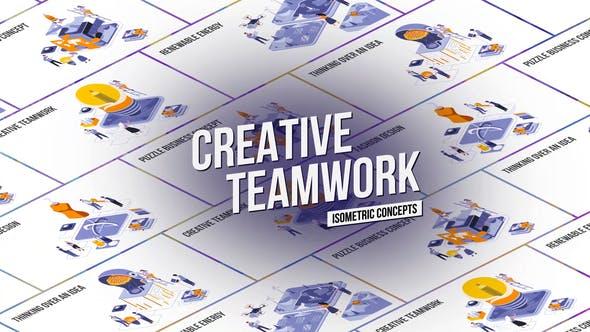 Videohive Creative Teamwork - Isometric Concept 27458597