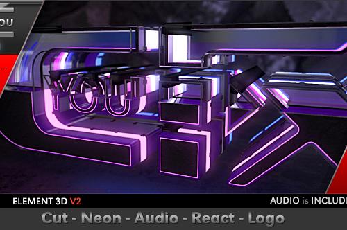 Videohive Cut Neon Audio React Logo 20045110