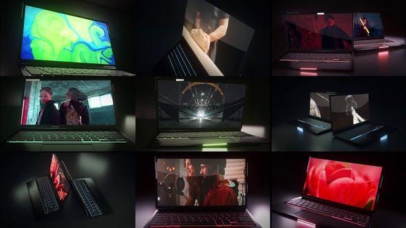 Videohive Dark Laptop Mockup 28443663