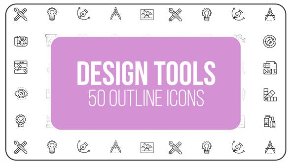 Videohive Design Tools - 50 Thin Line Icons 23150962