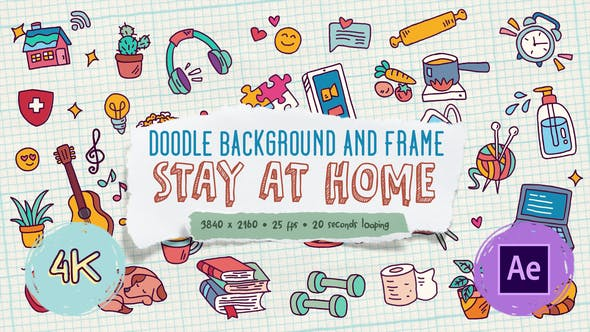 Videohive Doodle Background and Frame - Stay At Home 27871985