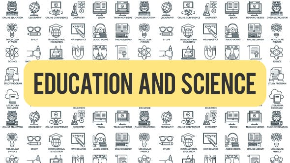 Videohive Education And Science - Outline Icons 21291230