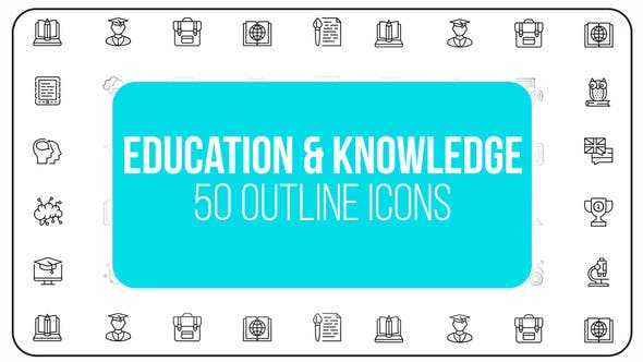 Videohive Education Knowledge - 50 Thin Line Icons 23172162