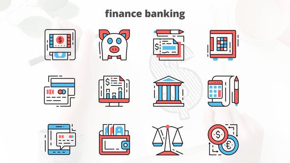 Videohive Finance Banking – Thin Line Icons 23454822