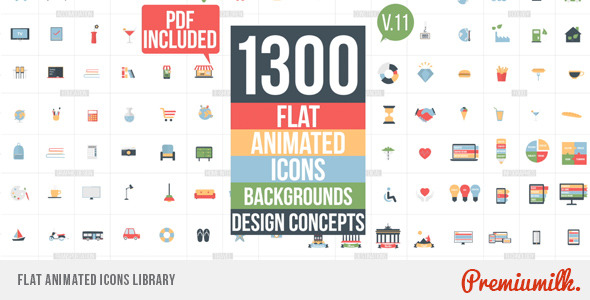 Videohive Flat Animated Icons Library 11453830