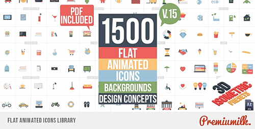 Videohive Flat Animated Icons Library v.15 11453830