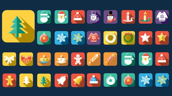 Videohive Flat Style Animated Christmas And New Year Icons 13483247