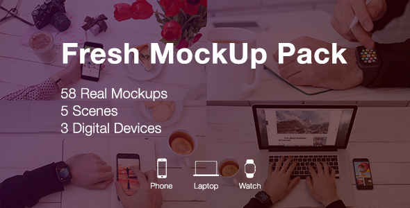 Videohive Fresh Mockup Pack Phone Laptop Watch Devices 19983797