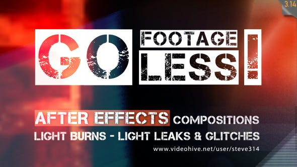 Videohive Go Footageless - Light Burns & Glitch AE comps 8390543