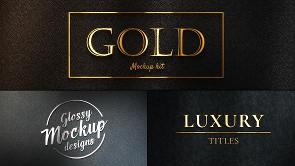 Videohive Gold Mockup Kit - Glossy Logo Titles 20543730
