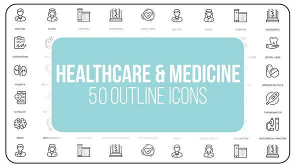 Videohive Healthcare And Medicine - 50 Thin Line Icons 23172122