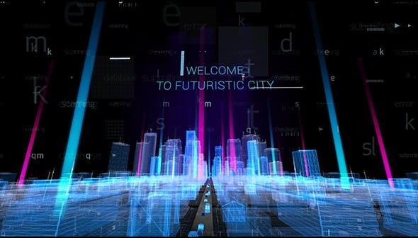 Videohive Hologram City Titles 20882857