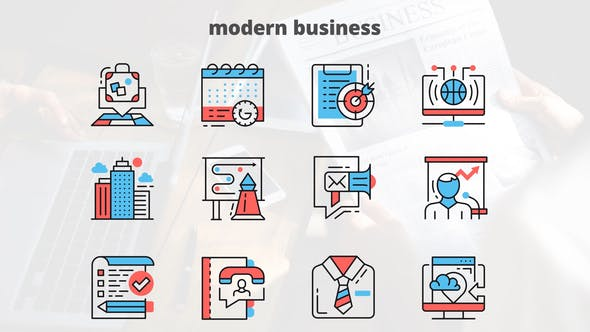 Videohive MODERN BUSINESS – Thin Line Icons 23454681