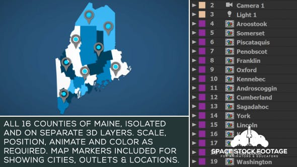 Videohive Maine Map Kit 20776021