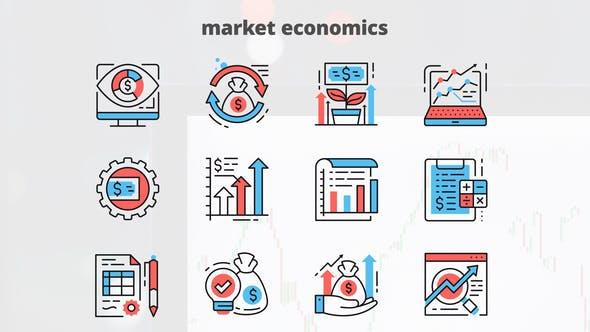Videohive Market Economics – Thin Line Icons 23454804