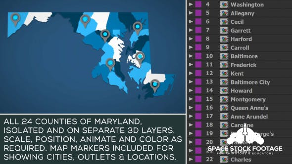 Videohive Maryland Map Kit 20828385