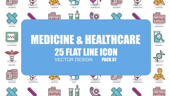 Videohive Medicine And Healthcare - Flat Animation Icons 23370393