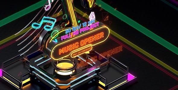 Videohive Music Opener Neon Style Music Award Old Music Boombox Radio Show Speakers and Bass 20822838