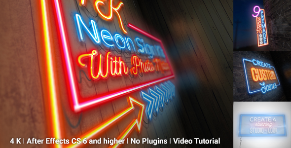 Videohive Neon Sign Kit With Photo Motion 20037583
