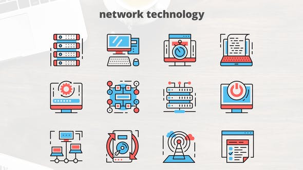 Videohive Network Technology – Thin Line Icons 23455677